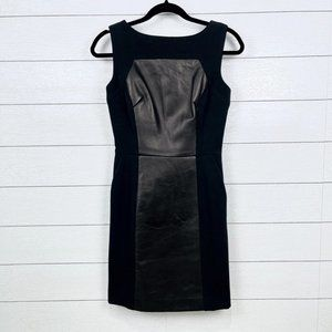 Milly of NY Lamb Leather Panel Sheath Dress Size 2